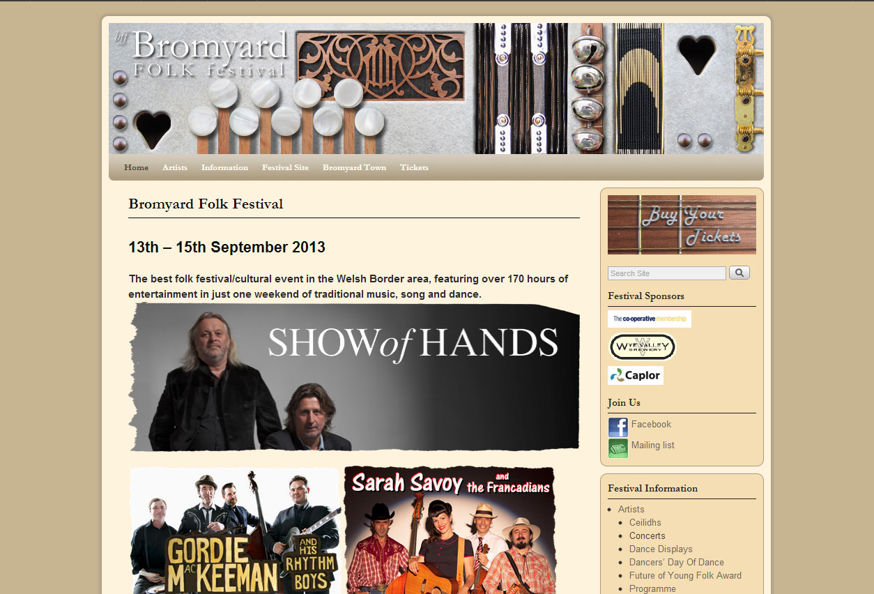 Website Design: Bromyard Folk Festival