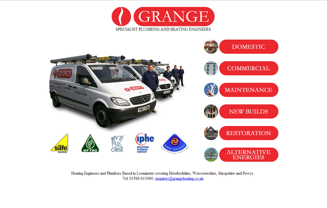 Website Design: Grange Heating